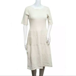 ST John collection white knit fit flare dress